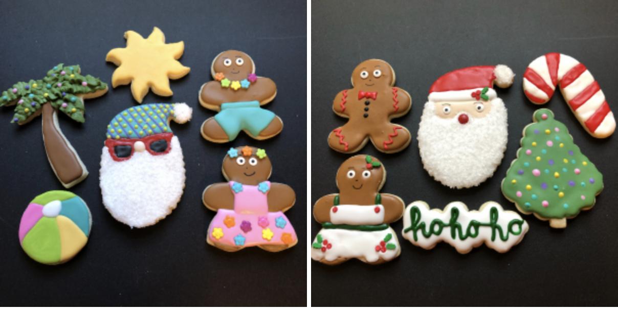 Summer Christmas cookie sets and regular christmas cookie sets. Frosted sugar cookies decorated to look like santa, gingerbread men, and christmas decor.